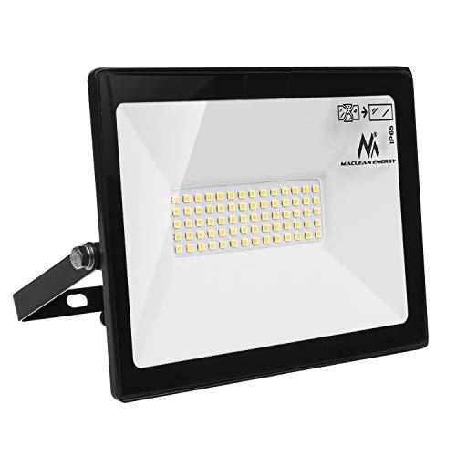 Maclean MCE550 NW LED Flutlicht Strahler LED Fluter IP65 Wasserdicht Scheinwerfer Außenbeleuchtung Licht Slim Premium 4000lm (Neutralweiß 4000K, 50W)