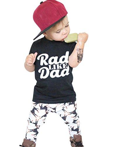 Bébé Ensemble de Vêtements,LMMVP Infantile Bébé Fille Garçon Impression Tops Chemise Pantalon Vêtements Ensemble 1-5Ans (110(3-4T), Noir)