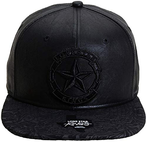 Already Design Co Lone Star Kings Star Banner Leather Floral Snapback Cap Hat (Adjustable, Black)