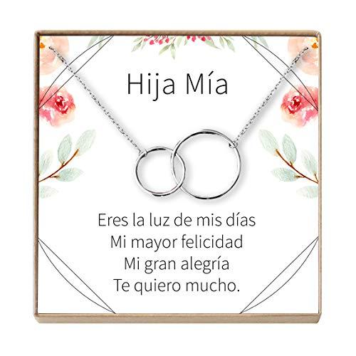 Collar Regalo Para Hija, Regalo Para Cumpleaños, Día del Niño, 2 Interlocking Circles (silver-plated-brass, NA)