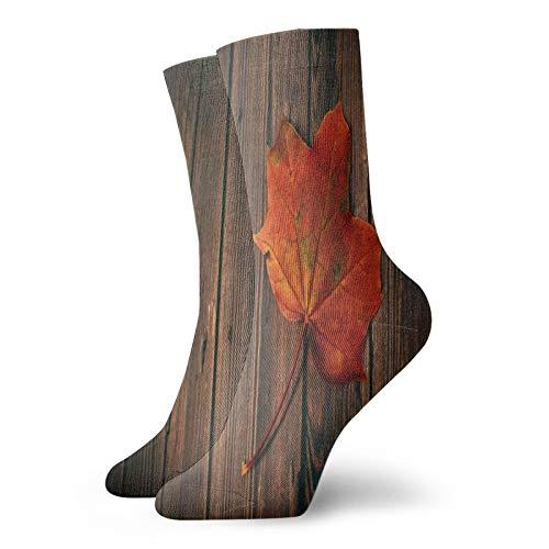 Calcetines, otoño hojas de arce en madera deporte atlético calcetines casuales calentadores poliéster tripulación tubo medias 11.8 pulgadas para hombre mujer