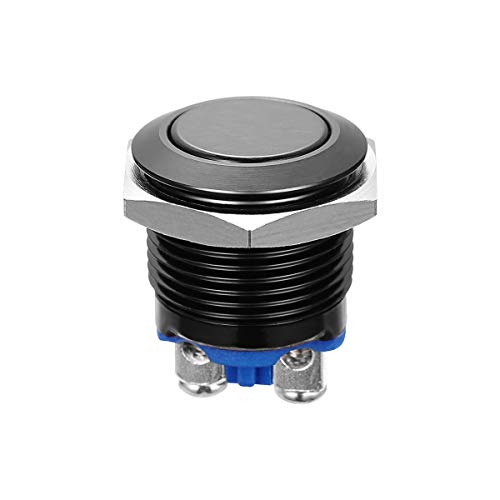 WINOMO 16mm Druckschalter Schalter Druckknopf Ein-Ausschalter Drucktaster für Auto KFZ (schwarz)