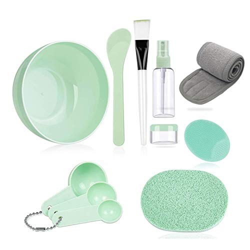 Face Mask Mixing Bowl Set, Lady Facial Care Facemask Mixing Tool Sets include Facial Mask Mixing Bowl Stick Spatula Silicone Cream Mask Brushes(Green)