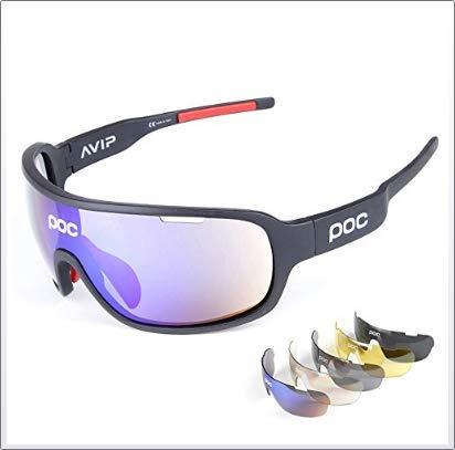 Gafas Polarizadas Deporte Bici Anti UV400 Gafas para Correr Running Antivaho con 5 Lentes Intercambiables Adaptadas También A Ciclismo Bicicleta De Montaña MTB Y Carrera para Hombre Y Mujer,A