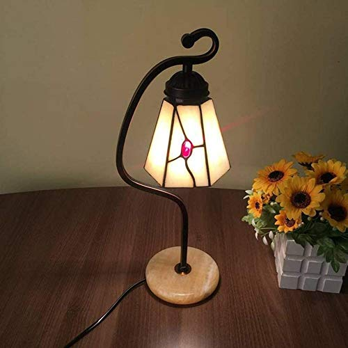 Lámpara de mesa mediterránea de cristal teñido, lámpara de estudio de arte cálido como regalo de cumpleaños para hombres y mujeres-B