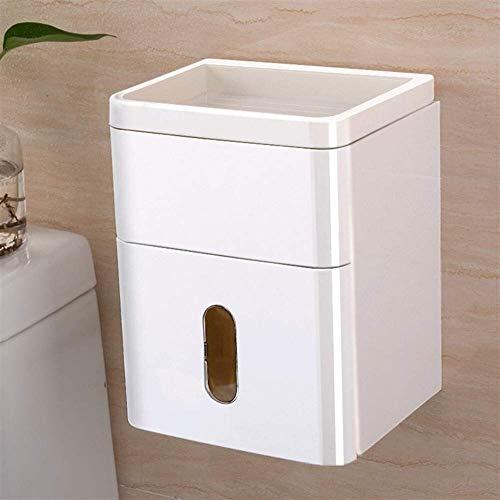 Tenedor de papel higiénico Caja de tejido inodoro Caja de baño perforada - Tenedor gratuito Caja de papel higiénico multifuncional Caja de papel higiénico impermeable Rack soporte de papel rollo baño