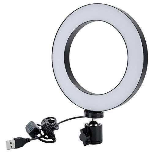 Anello luminoso a LED 16 cm con treppiede, luce anulare UN-160 Lampada di riempimento regolabile a 3 colori per fotografia di b