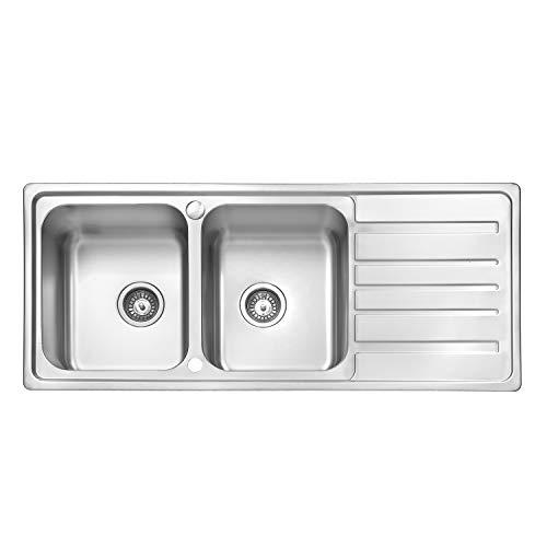 JASS FERRY - Escurridor reversible de acero inoxidable para fregadero de cocina, 2 cuencos, 1160 x 500 mm, 10 años de garantía