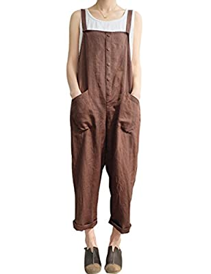 Gihuo Women's Retro Style Cotton Linen Button Front Baggy Bib Overall Pocket Jumpsuit Romper Plus Size (Coffee, Medium) from