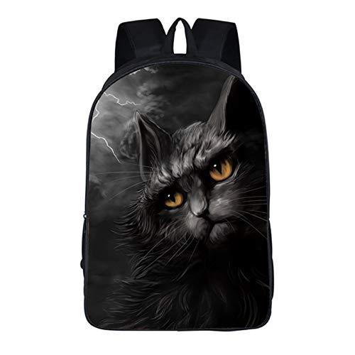 Schwarzer 3D-Gothic-Kinderrucksack Mit Katzenmuster, Wasserdichte Schultasche Für Jungen, Geeignet Für Den Schulgebrauch, 3D-Gedruckter Schulrucksack Für Kinder, Schultasche Mit Großer Kapazität