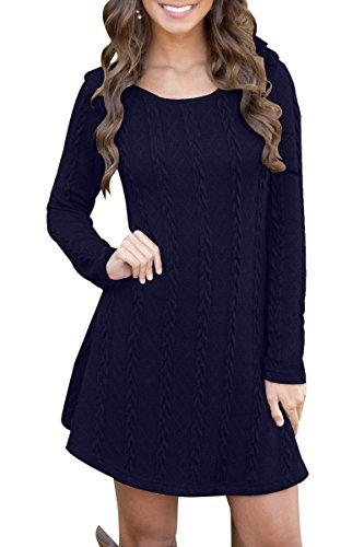 YMING Damen Sweater Langarm Rundhals Mini Jerseykleid Sweater Kleid Dunkel Blau M