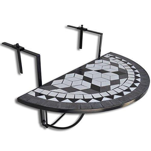 vidaXL Table de Balcon Suspendue Demi-Circulaire Table de Jardin Terrasse