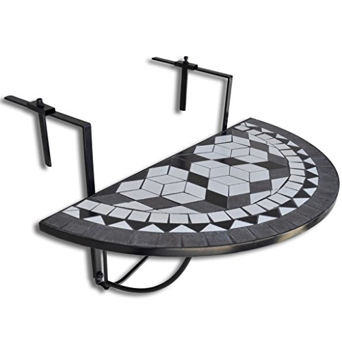 Festnight Mosaic Design Folding Hanging Balcony Side Table Indoor Outdoor Ceramic Tile Tabletop Semi-Circular Railing Serving Table Stand for Patio,Garden,Deck (Black)
