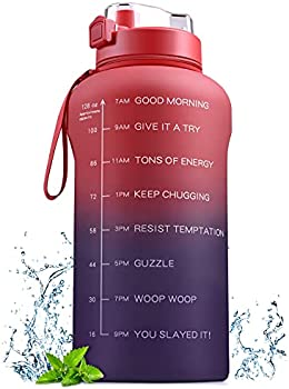 128oz BPA Free Water Bottle with Motivational Time Marker & Straw