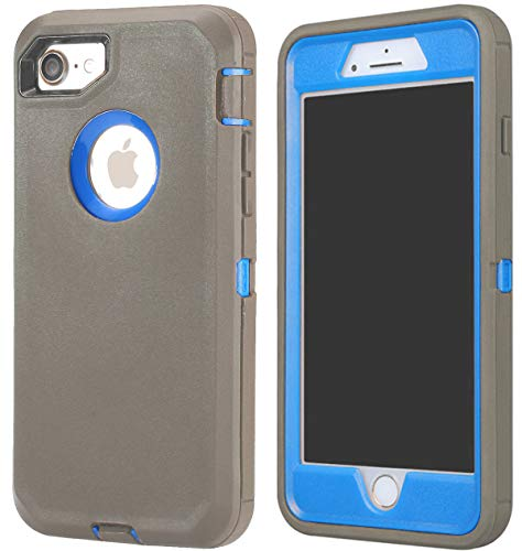 Annymall Case Compatible for iPhone 8 & iPhone 7, Heavy Duty [with Kickstand] [Built-in Screen Protector] Tough 4 in1 Rugged Shorkproof Cover for Apple iPhone 7 / iPhone 8 (Grey/Blue)