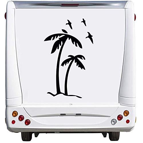 Superstiki, 2 palmen met 3 vogels, caravan, camping, vakantie, ca. 60 cm sticker autosticker sticker Womo Wowa