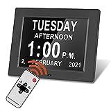 TELAM Reloj Calendario Digital 8in, Pantalla LED, Calendario Digital, día y Fecha, con Control Remoto, Extra Grande, 8 Alarmas Programables, para Todos Especialmente Alzheimer y Niños (Negro)