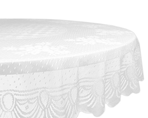 DII Home Essentials 100% Polyester, Machine Washable, Shabby Chic, Vintage Tablecloth or Overlay 63' Round, Floral Lace