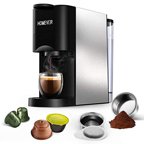 Nespresso Machine, HOMEVER 4 in 1 Multi-Function Mini Espresso Machine, 25s Fast Brew and 19 Bar Single Serve Coffee Maker, Compatible with Nespresso Original, Dolce Gusto, Starbucks, ESE pods and Ground Espresso.