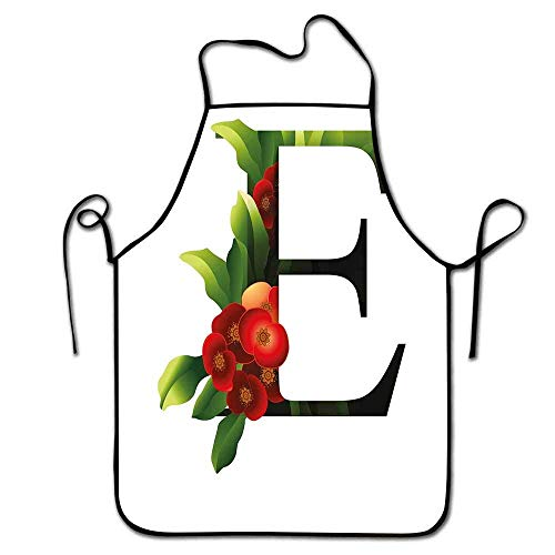 Not Applicable Letra E Delantal Disfraz Alfabeto con euforbia Milii Corona de Espinas Flor con Hojas Verdes Delantal Restaurante Vermilion Verde Negro