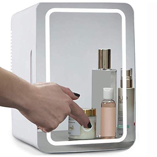 Mini Fridge 8 Liter Portable Cosmetic Refrigerator,Glass Panel + LED Lighting,with Hot and Cold Setting, Used for Makeup and Skin Care, Can Also Be Used in Homes, Cars, Bar
