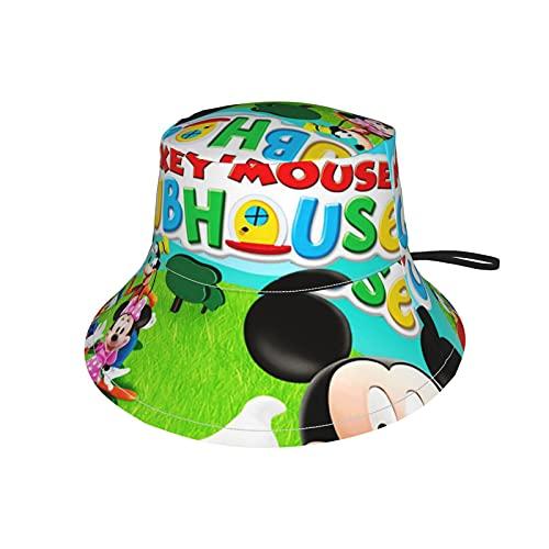 LoveOnHead - Berretto per bambini con fascia per il mento regolabile, protezione solare per l'estate, da viaggio, da pesca, Topolino, Clubhouse Nero M
