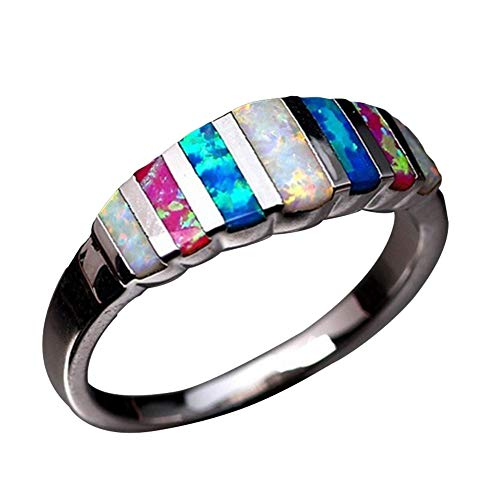 heDIANz Women Rings, Faux Opal Inlaid Finger Ring Wedding Party Jewelry Banquet, Gift US 6