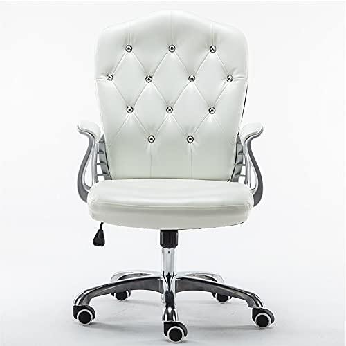 Silla ergonómica para escritorio de oficina, silla de trabajo ejecutiva con respaldo medio ajustable, silla giratoria para computadora tapizada en cuero de PU con reposabrazos y ruedas de 360 °