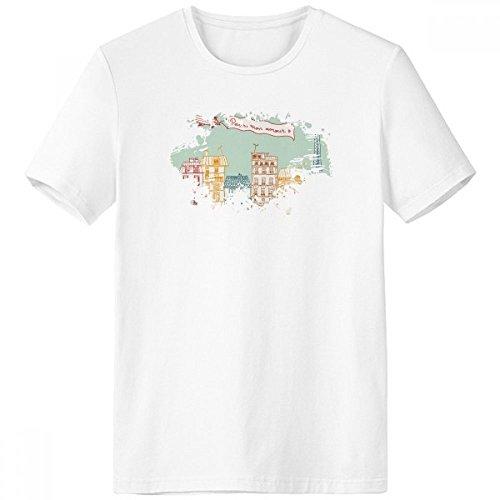 DIYthinker Palabras París Francia dirigible Marcos Famoso Nacional Bandera de Arquitectura del Paisaje Personalizado ilustrado Modelo Pincel Escote de la Camiseta Blanca sin Etiquetas Comfor