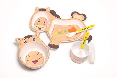 Set vajilla Infantil de bambú sin BPA. Incluye 5 piezas : Cubertería para niños Vaso y Plato para niños. (Caballo)