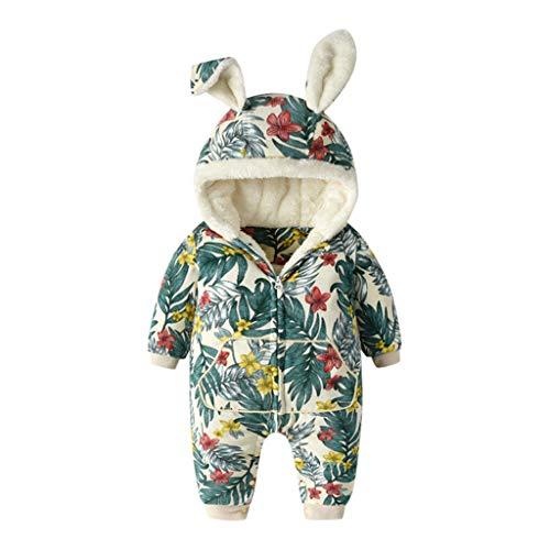 Amcool-baby Schneeanzüge Winter Overall Fleece Strampler mit Kapuze Spielanzug Mädchen Jungen Weihnachten Cartoon Floral Gerafft Jumpsuit