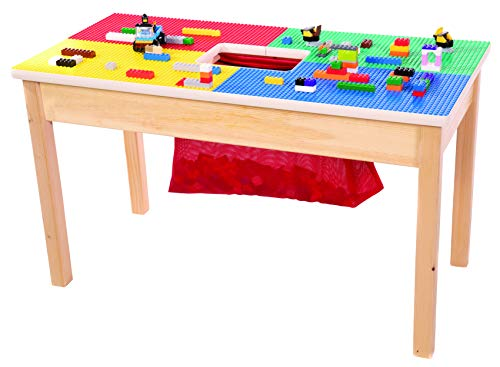 """FUN BUILDER Lego Table with Built in Storage 32""""x16"""" Made in USA! Solid Wood Frame an d Legs. Built to Last! Ages 5 and Older!"""