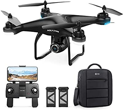 Holy Stone HS120D GPS Drone with 2K UHD Camera for Adults, FPV Quadcotper with Auto Return Home, Follow Me, Altitude Hold, Tap Fly Functions, Includes 2 Batteries and Carrying Backpack by Holy Stone
