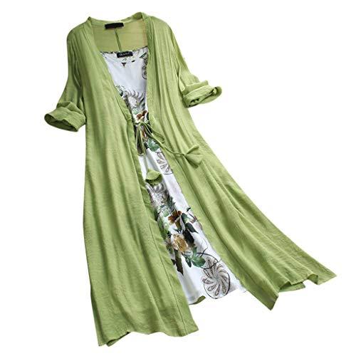 Elegante Kleider Damen Kleid Cocktailkleider Ronamick Frauen Vintage Boho O-Ausschnitt Floral Print Zweiteilige 3/4 Ärmel Spitzenkleid(XXXXXL, Grün)