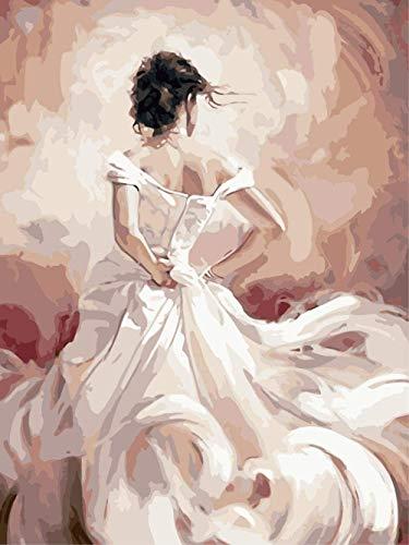 Schilderen op nummer DIY digitaal olieverfschilderij witte jurk meisje afbeelding tekening op doek 40 x 50 cm