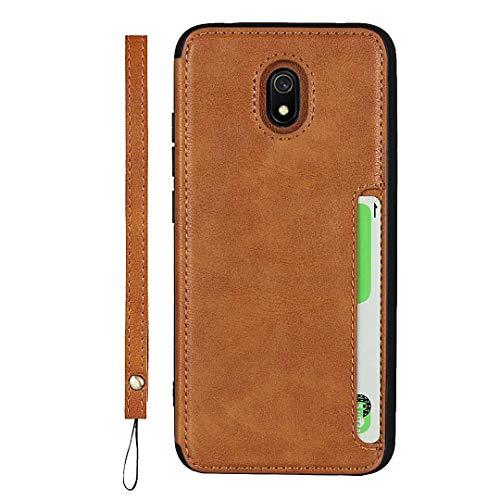GIMTON Xiaomi Redmi 8A Hülle, Brieftasche Rückenschale mit Handschlaufe und Standfunktion, Stoßfest Kratzfestes PU Schutzhülle für Xiaomi Redmi 8A, Braun