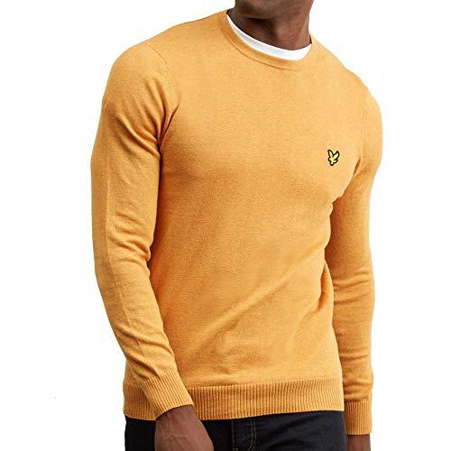 Lyle & Scott Herren Cotton Merino Crew Jumper Pullover, Gelb (Honey Marl Z), XX-Large