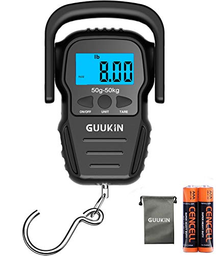 GUUKIN Fish Scale (Upgraded) Digital Hanging Scale with Measuring Tape, LCD Display, 110lb/50kg Portable Fishing Scale for Home/Outdoor, Storage Bag Included