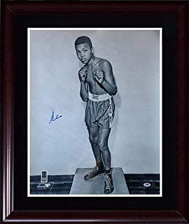 Muhammad Ali Cassius Clay Autographed Signed 20X24 Photo Framed Auto Psa/Dna Ali Holo Authentic