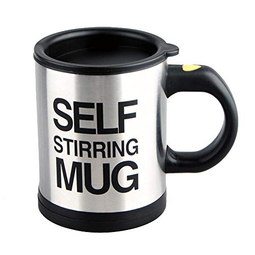 Stainless Steel Coffee Mug Self Stiring Mugs Electric Automatic Mixing Cups for Stir Coffee Milk Mix Juice Drink and Plastic 300ml 12-16 OZ (Black)