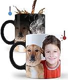 Mookase Taza Mágica Personalizada con tu Foto | Regalo Personalizado | Diséñala con Tus Fotos y Texto | Color: Negro |...