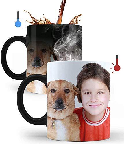 Mookase Taza Mágica Personalizada con tu Foto | Regalo Personalizado | Diséñala con Tus Fotos y Texto | Color: Negro | Material: Cerámico