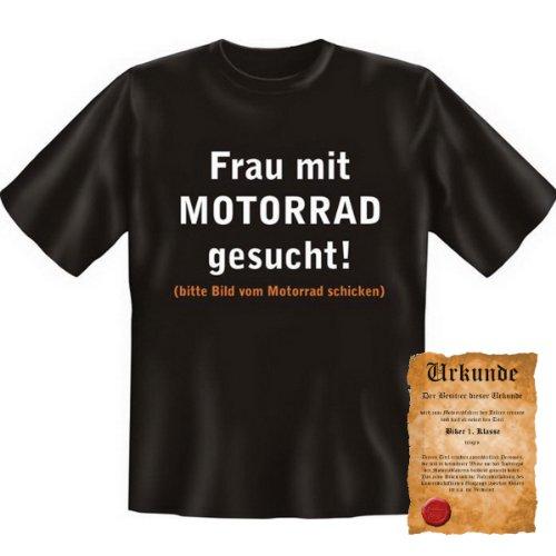 witziges Biker T-Shirt + Urkunde: Frau mit Motorrad gesucht! - lustiges Herren Shirt Geschenk Motorrad Geburtstag Weihnachten