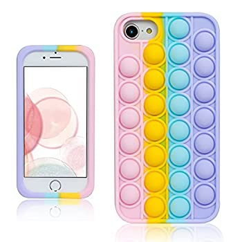 oqpa for iPhone 7/8/SE 2020/6/6S Case Cartoon Kawaii Funny Cute Fun Silicone Design Cover for Girls Kids Boys Teen Fashion Cool Unique Fidget Color Bubble Cases  for iPhone 7/8/SE 2020/6/6S 4.7