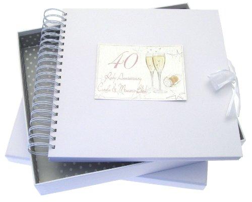 White Cotton Cards Erinnerungsalbum zur Rubinhochzeit (Aufschrift englischsprachig), für Glückwunsch