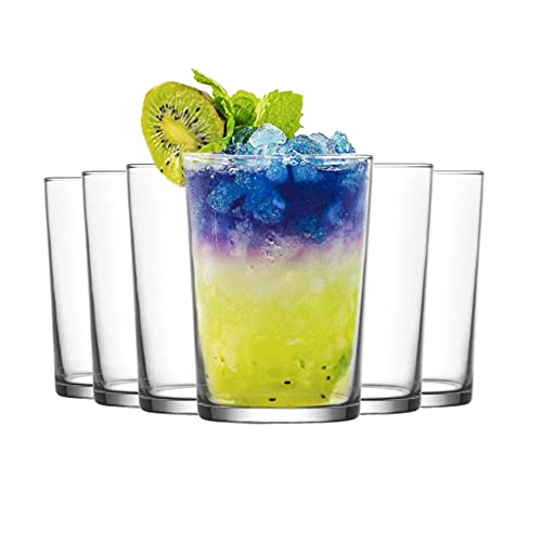 Set de 6 Vasos de Agua y Bebidas Alcohólicas, Vasos de Cristal Lisos y Transparentes, Aptos para Lavavajillas (520ml)