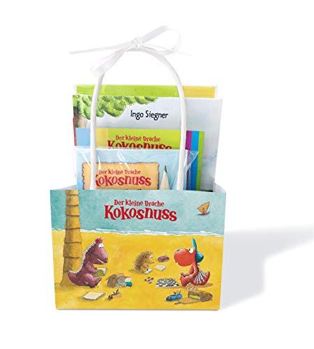 Der kleine Drache Kokosnuss - Beschäftigungstüte: Set: Buch, Rätselheft mit Bleistift, Kugel-Labyrinth und 7 Sticker
