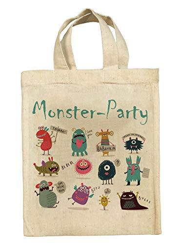 clothinx Lustige Kindergeburtstag Tasche Mitgebsel-Beutel im Set mit Geburtstag-Motto Monster 10er Pack