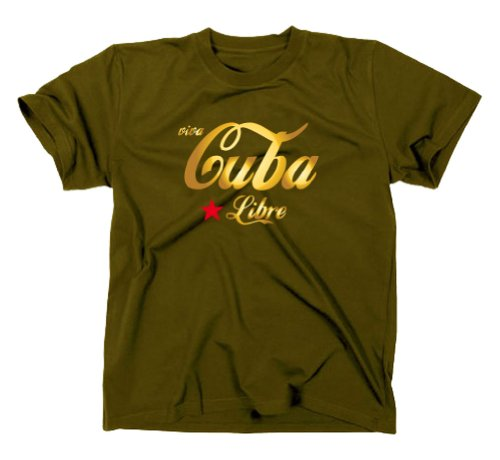 * Gold Edition * Viva Cuba/Cuba Libre T-Shirt, Fidel Castro, Olive/Vert militaire XL