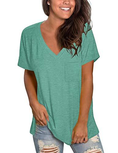 MOLERANI Camisas de Manga Corta con Cuello en V para Mujer Camiseta Holgada Informal Tops de Verano con Bolsillo (XL, Verde Hierba)